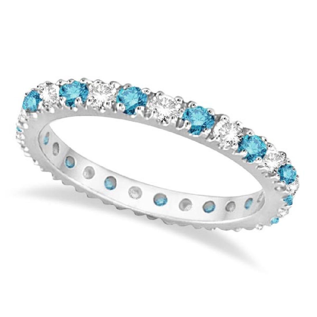 Fancy Blue and White Diamond Eternity Ring Band 14K Whi