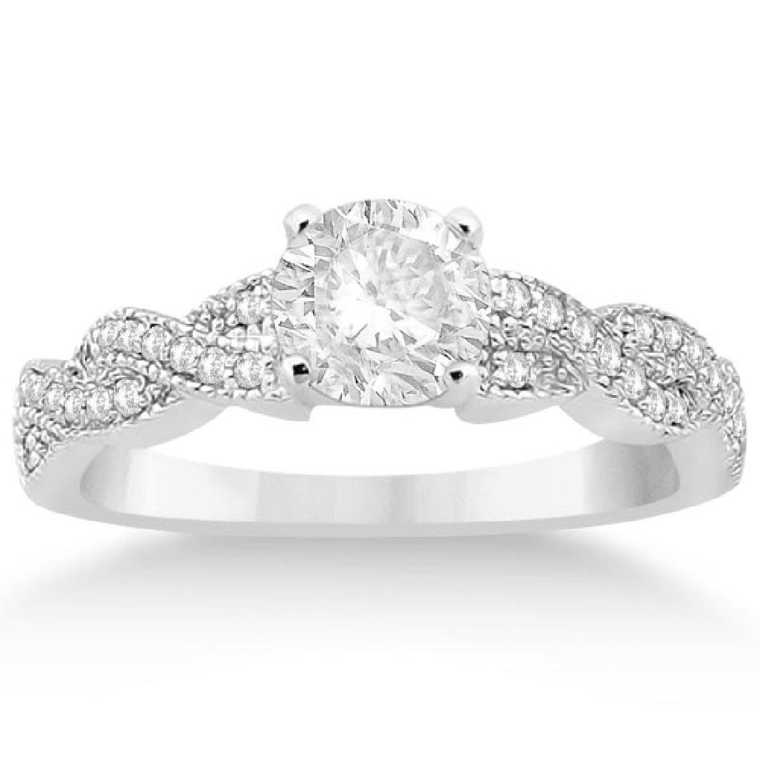 Infinity Twisted Diamond Engagement Ring 14k White Gold