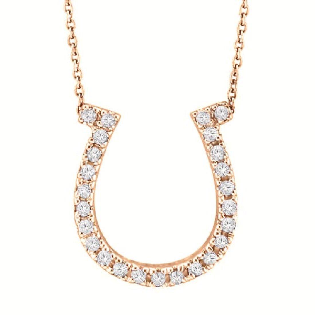 Diamond Horseshoe Pendant Necklace 14k Rose Gold (0.26c