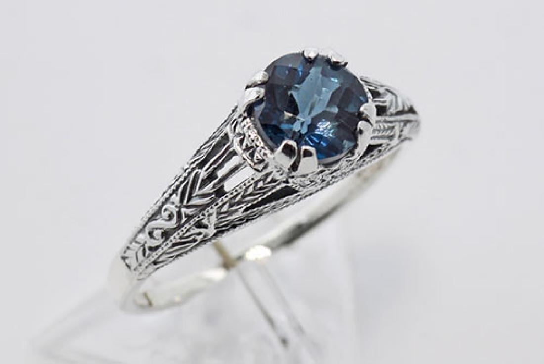 Antique Style London Blue Topaz Filigree Ring Sterling