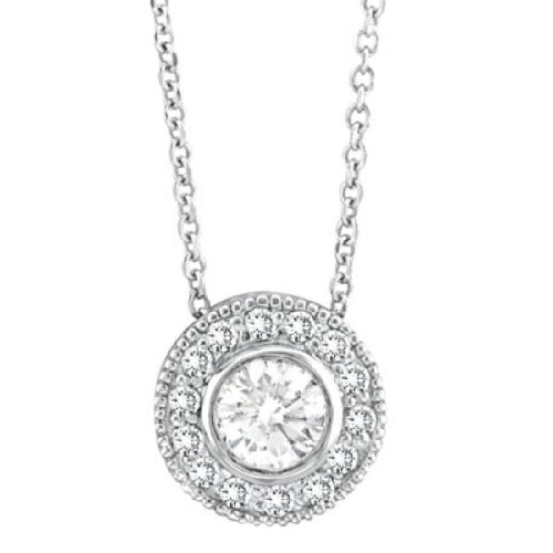 Halo Diamond Circle Pendant Necklace 14K White Gold (0.