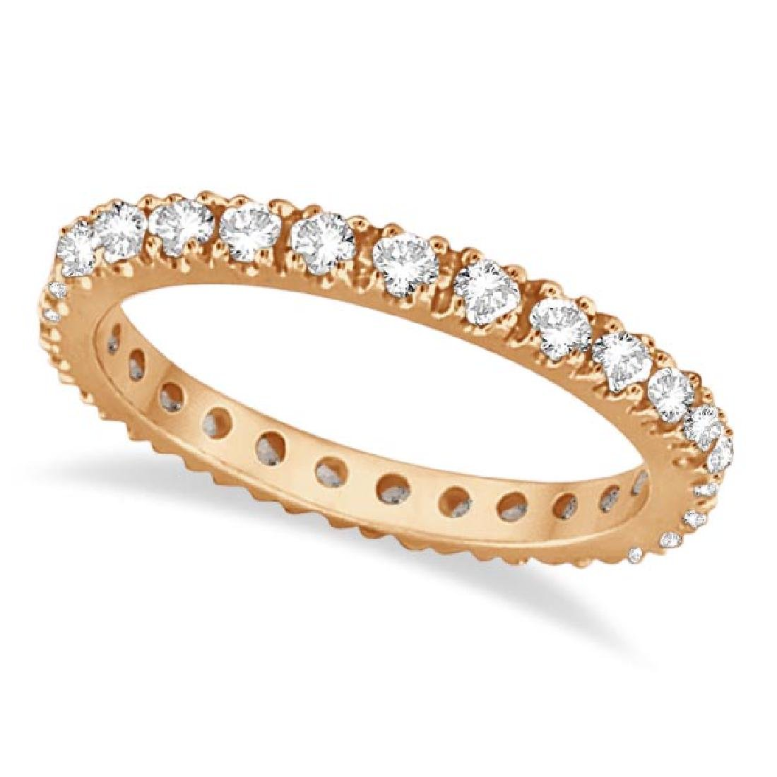 Diamond Eternity Stackable Ring Wedding Band 14K Rose G