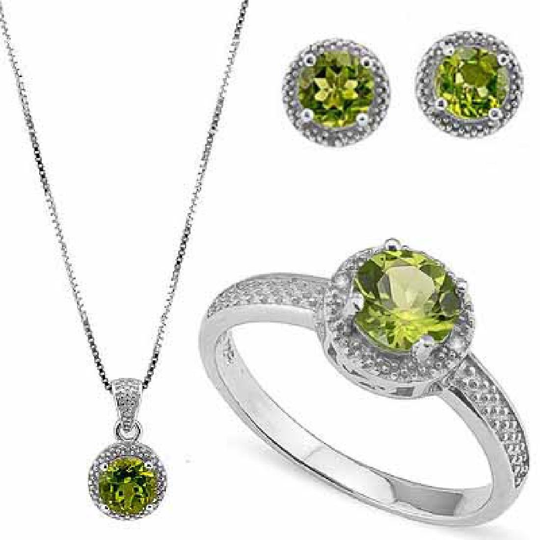3.518 CARAT TW (9 PCS) PERIDOT & GENUINE DIAMOND PLATIN