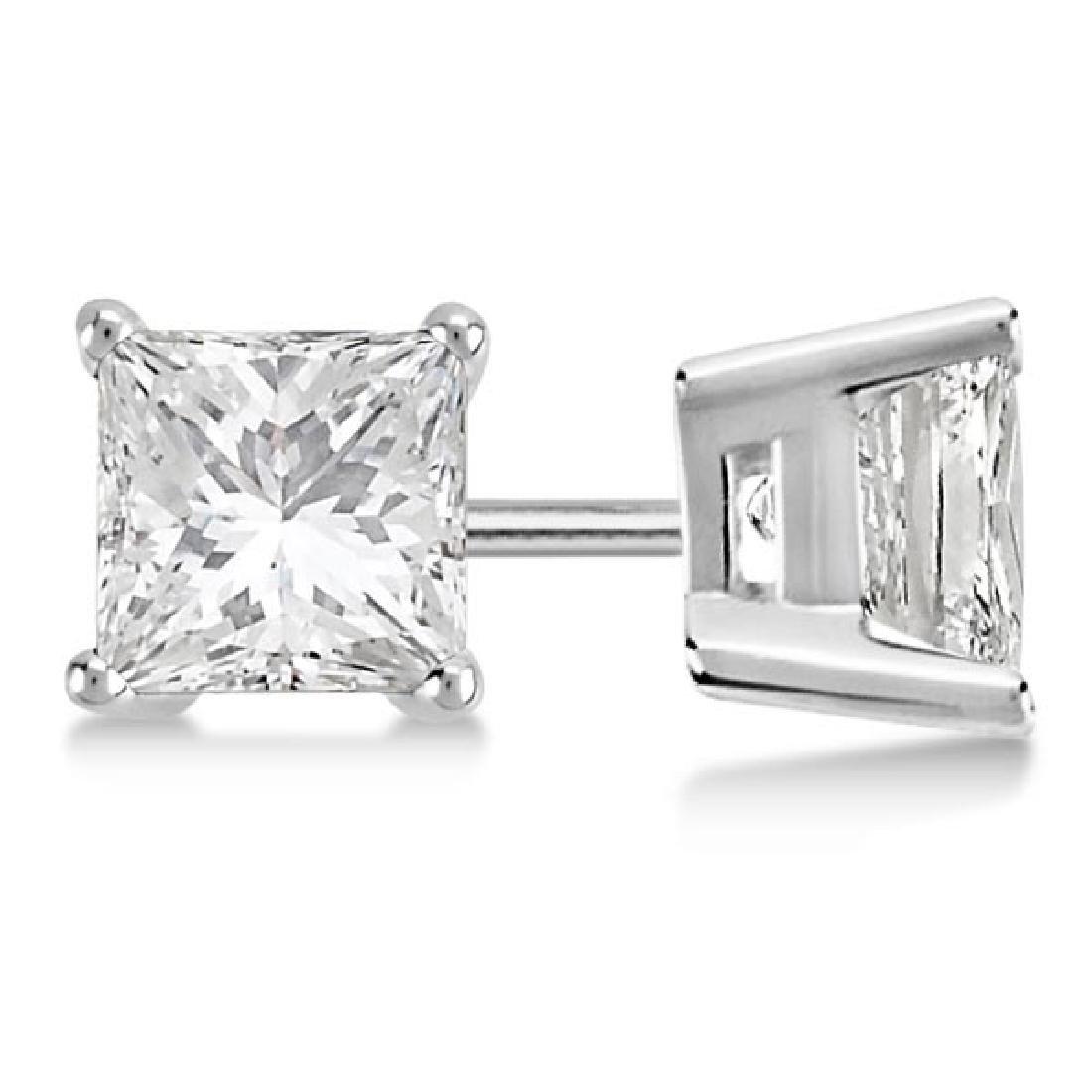 Certified 1.06 CTW Princess Diamond Stud Earrings E/SI2