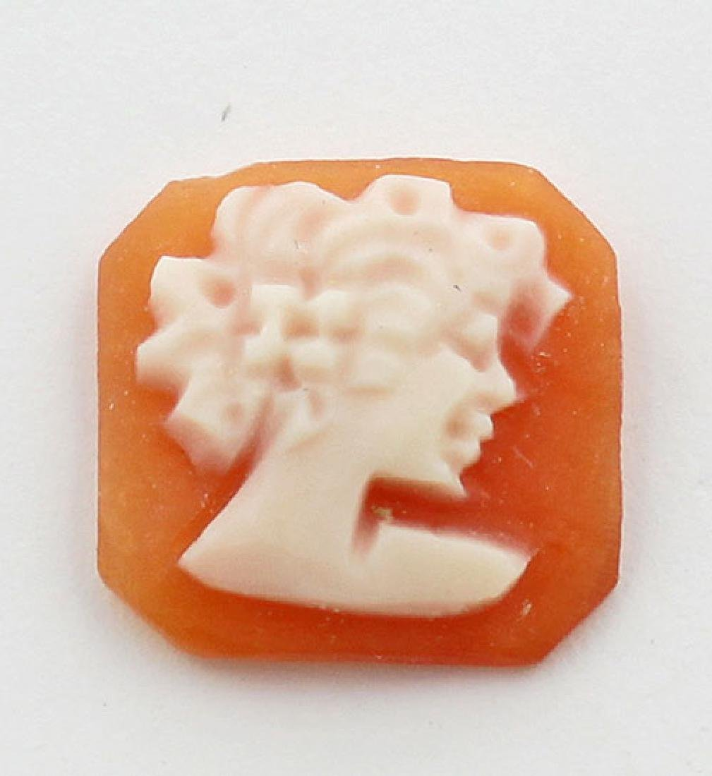 10 mm x 10 mm Square Hand Carved Italian Shell Cameo -