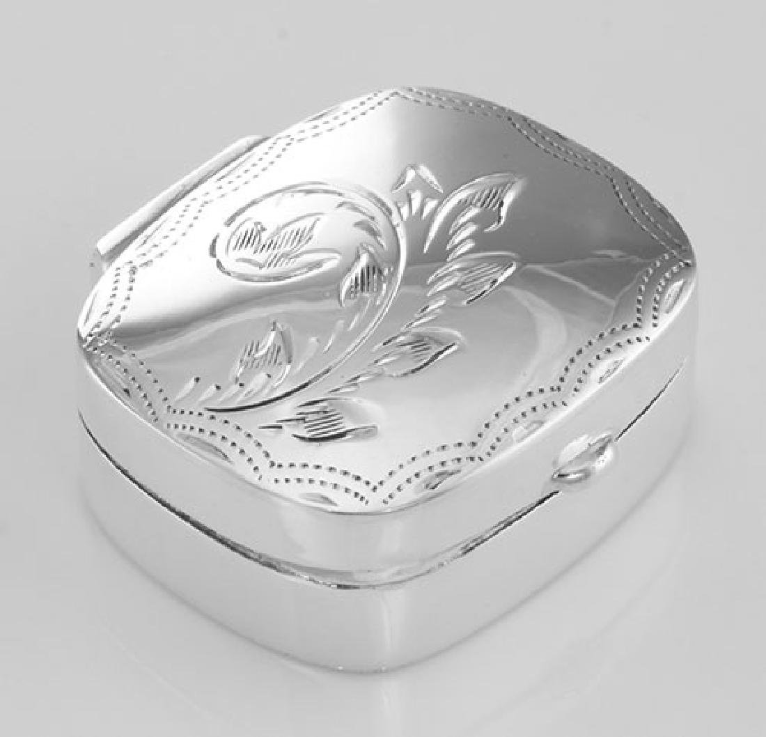 Small Rectangle Shape Sterling Silver Pillbox with Etch