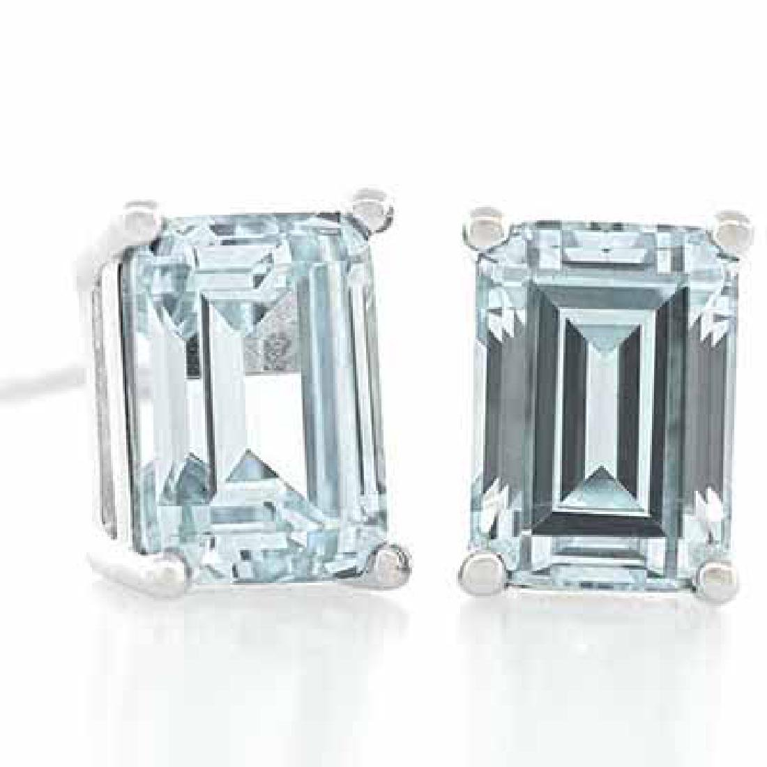 1 1/4 CARAT AQUAMARINE 925 STERLING SILVER EARRINGS