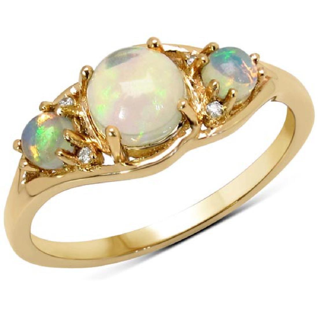 0.68 Carat Genuine Ethiopian Opal and White Diamond 14K