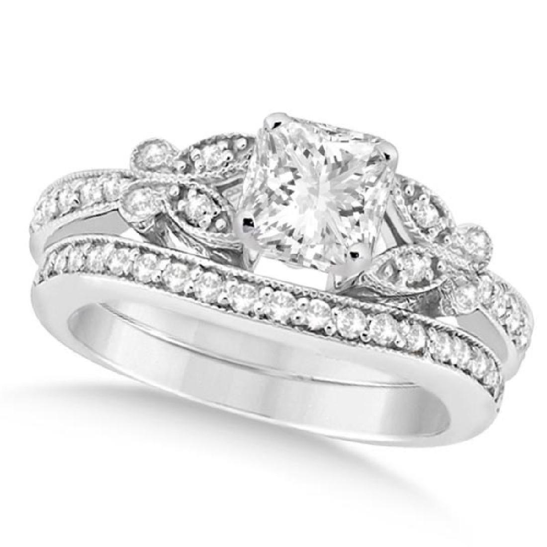 Princess Diamond Butterfly Bridal Ring Set 14k White Go