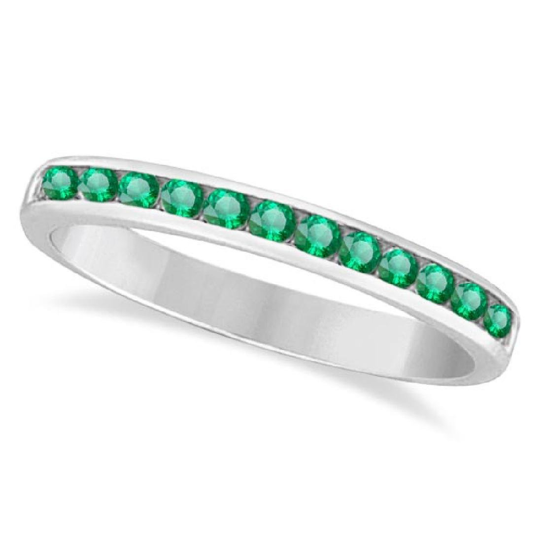 Channel-Set Emerald Band Stackable Ring 14k White Gold