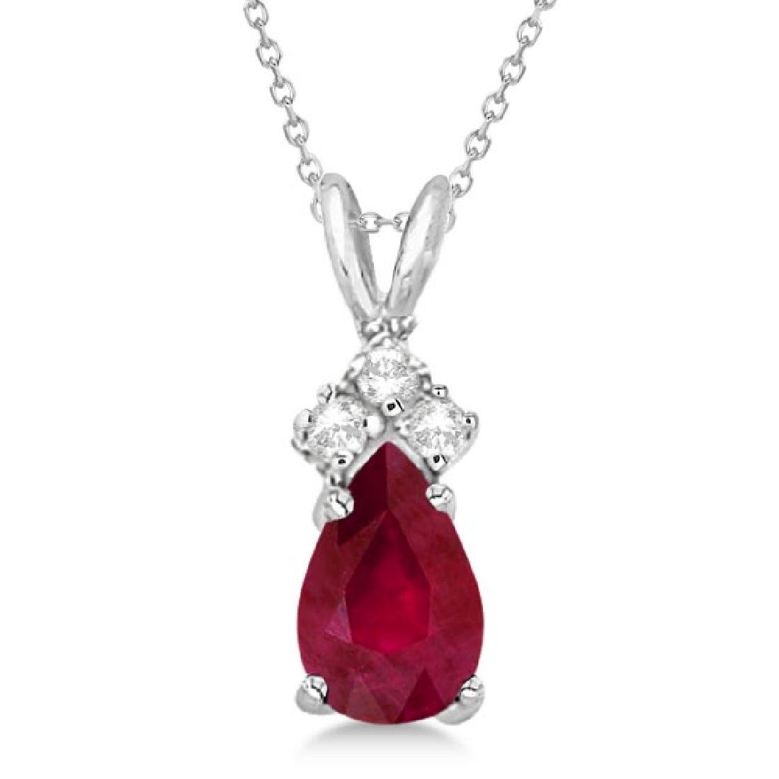Pear Ruby and Diamond Solitaire Pendant Necklace 14k Wh