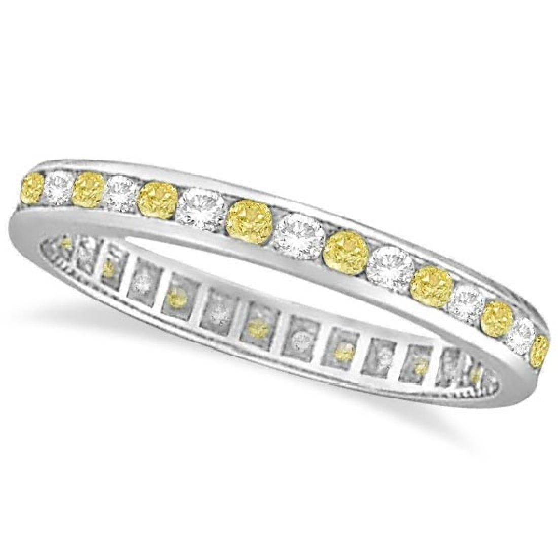 Channel-Set Yellow and White Diamond Eternity Ring 14k
