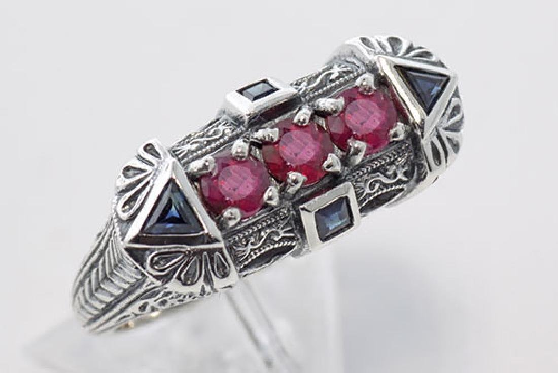 Sterling Silver Filigree Ring w/ Sapphires & Rubies