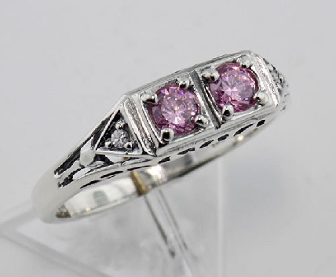 CZ Vintage Style Ring w/ 2 Diamonds - Sterling Silver