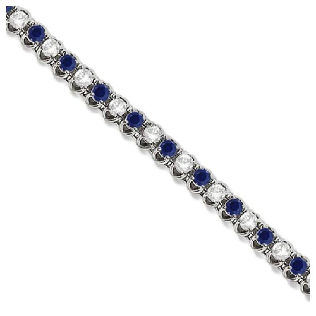 Round Blue Sapphire and Diamond Tennis Bracelet 14k Whi