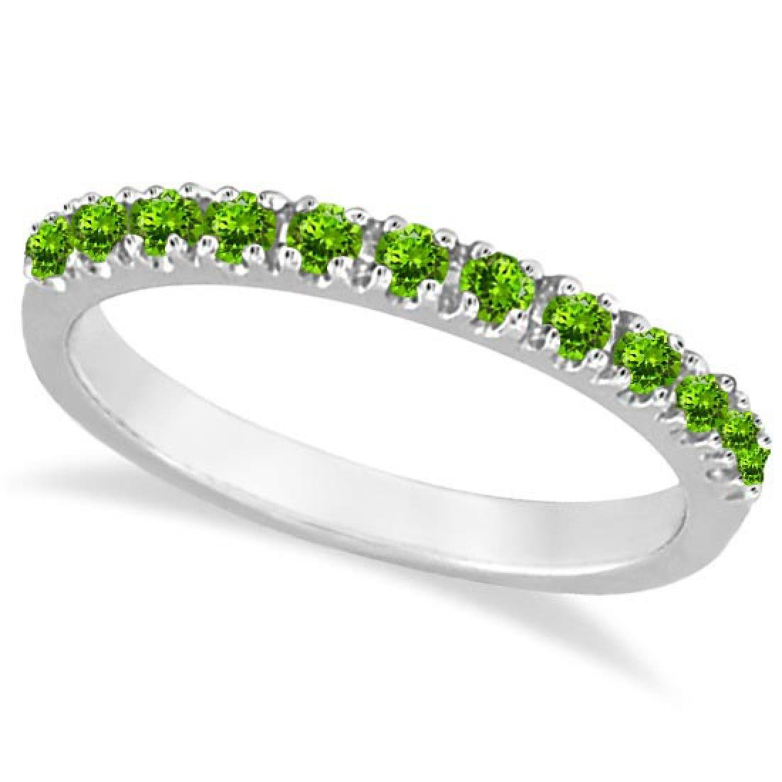 Peridot Stackable Band Anniversary Ring Guard 14k White