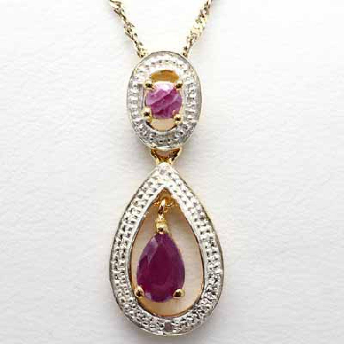 0.71 CARAT TW GENUINE RUBY & GENINE DIAMOND SET IN 24K