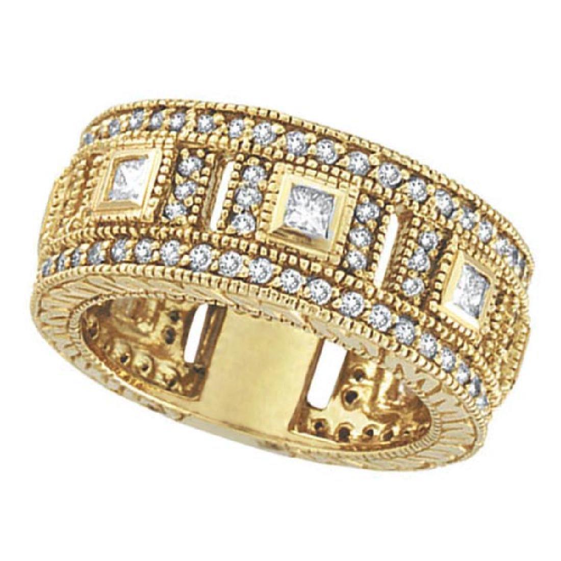 Round and Princess Eternity Diamond Byzantine Ring 14k