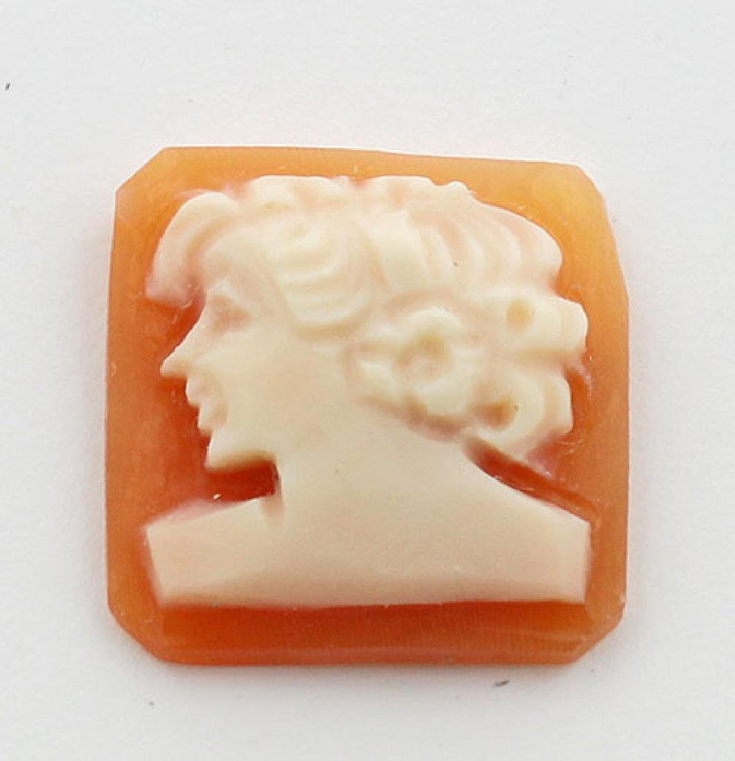 12 mm x 12 mm Square Hand Carved Italian Shell Cameo -