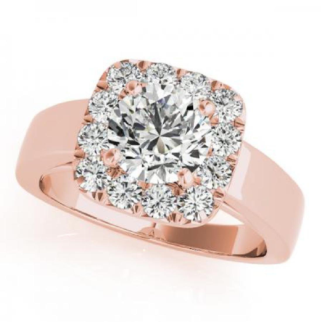 CERTIFIED 18K ROSE GOLD 1.08 CT G-H/VS-SI1 DIAMOND HALO
