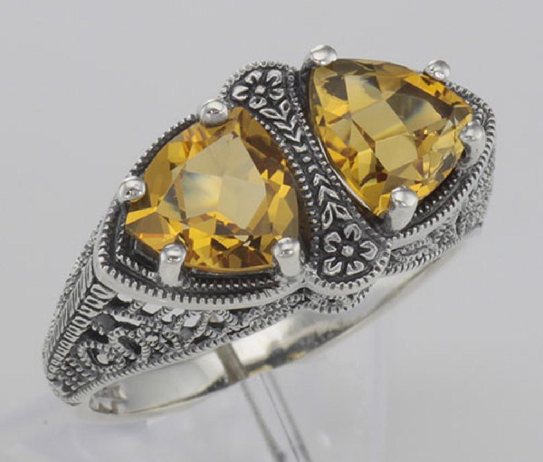 Unique Art Deco Style Citrine Filigree Ring - Sterling