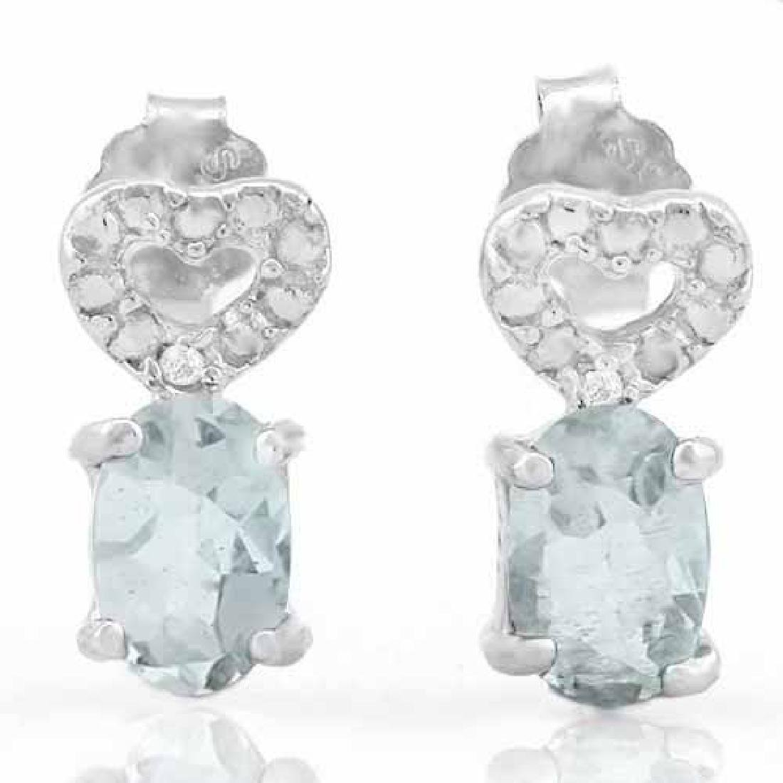 3/4 CARAT AQUAMARINE & DIAMOND 925 STERLING SILVER EARR