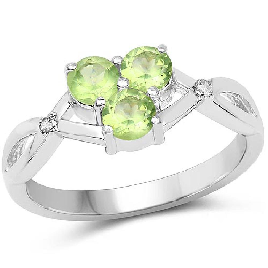 0.73 Carat Genuine Peridot and White Diamond .925 Sterl