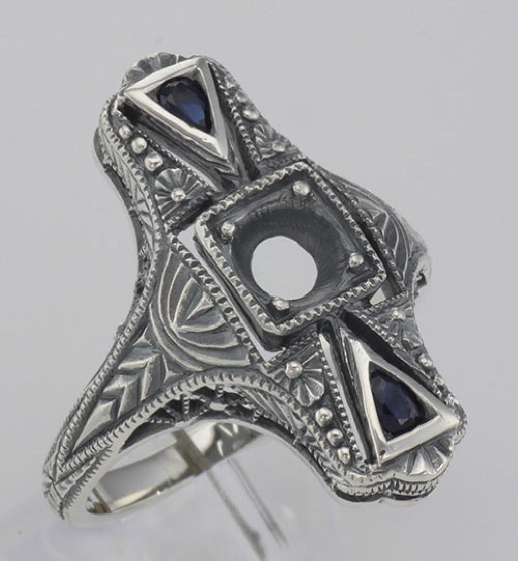 Semi Mount - Art Deco Sapphire Filigree Ring - Sterling