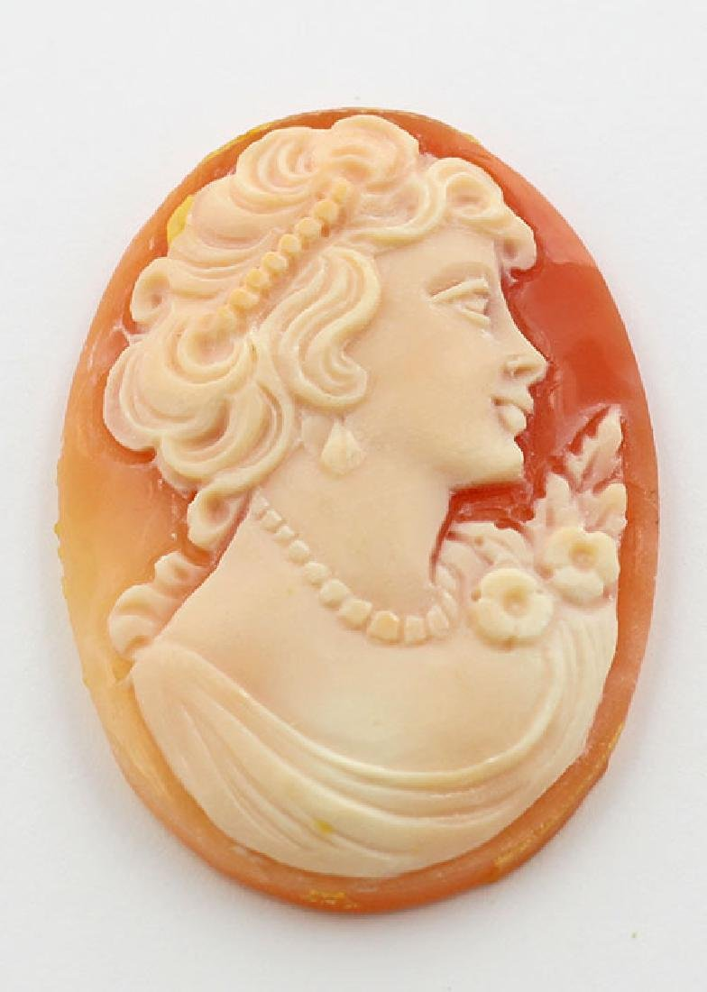 35 mm x 24 mm Oval Hand Carved Italian Shell Cameo - Lo