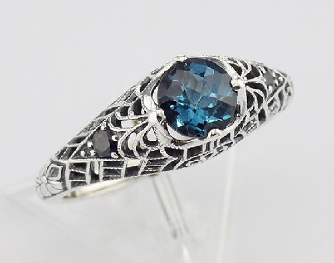 London Blue Topaz Filigree Ring with Sapphire Gems Ster