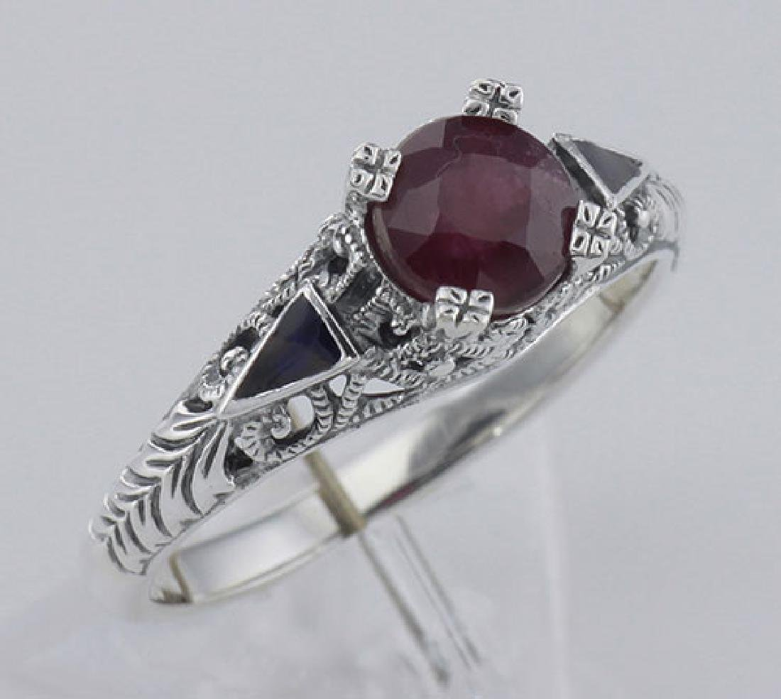 Art Deco Style Genuine Ruby Ring and Enamel - Sterling