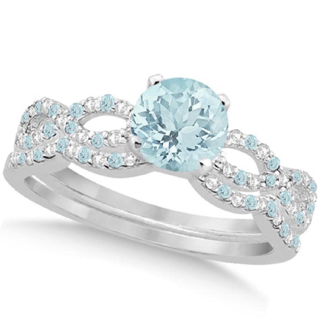 Aquamarine and Diamond Infinity Style Bridal Set 14k Wh