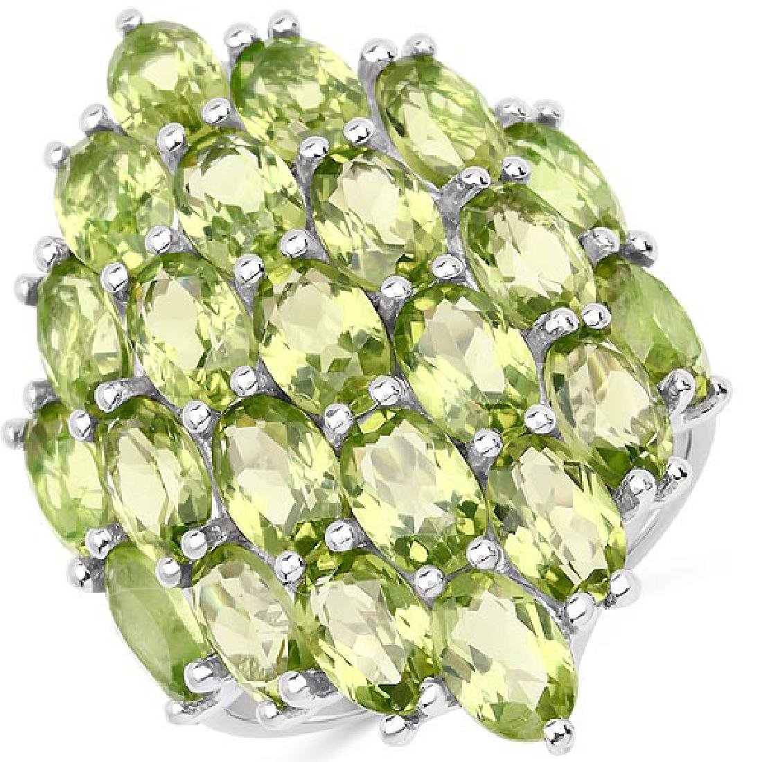 10.35 Carat Genuine Peridot .925 Sterling Silver Ring R