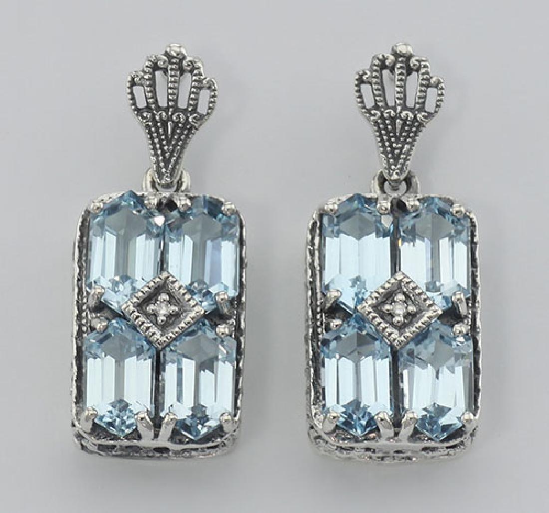 Art Deco Style Blue Topaz w/ Diamond Earrings - Sterlin
