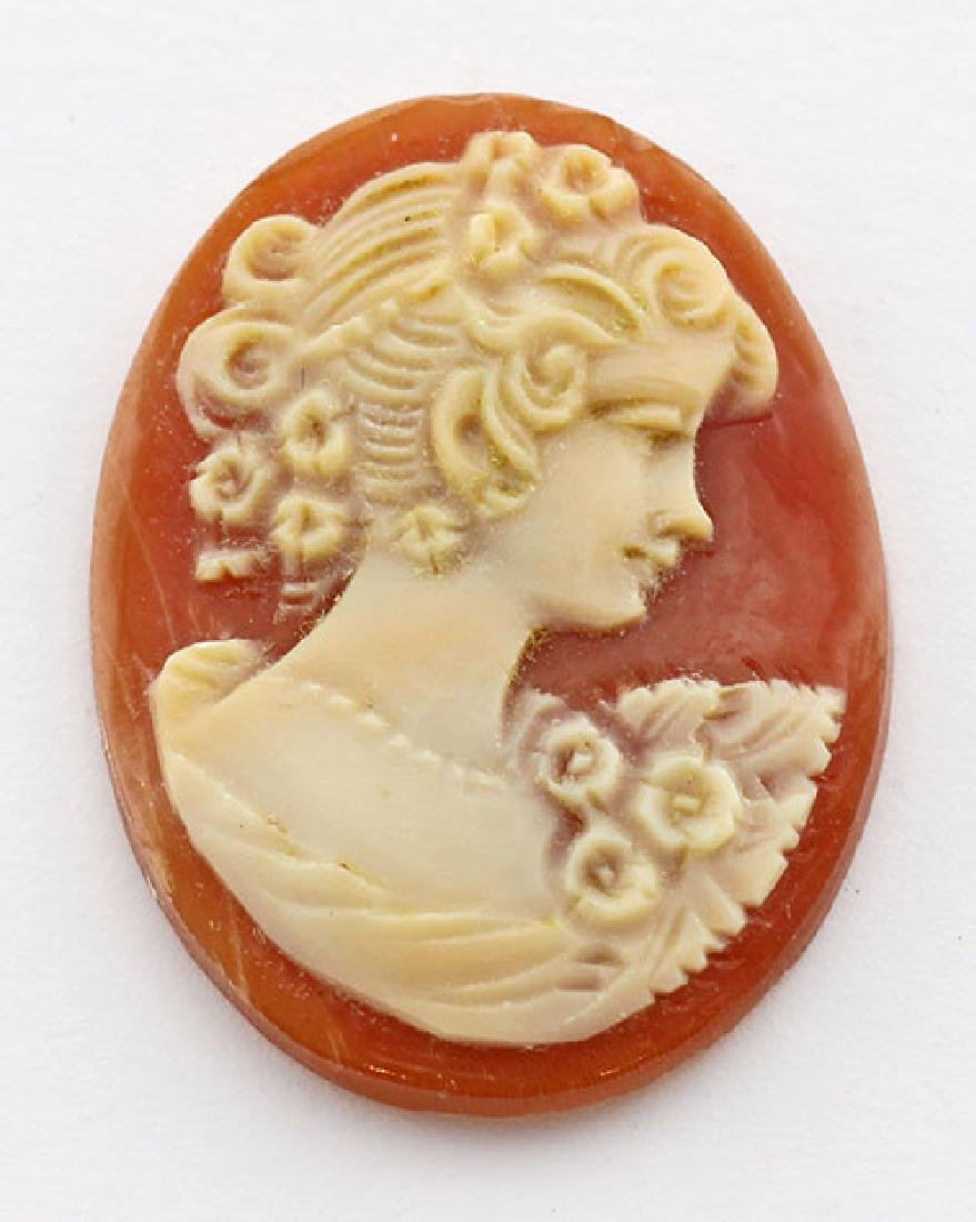 25 mm x 19 mm Oval Hand Carved Italian Shell Cameo - Lo