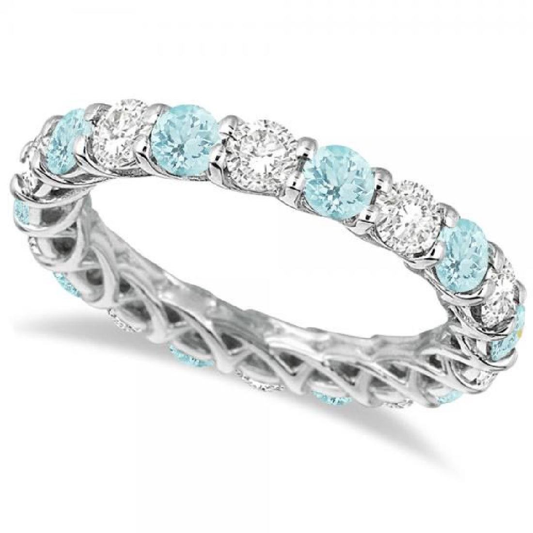 Luxury Diamond and Aquamarine Eternity Ring Band 14k Wh