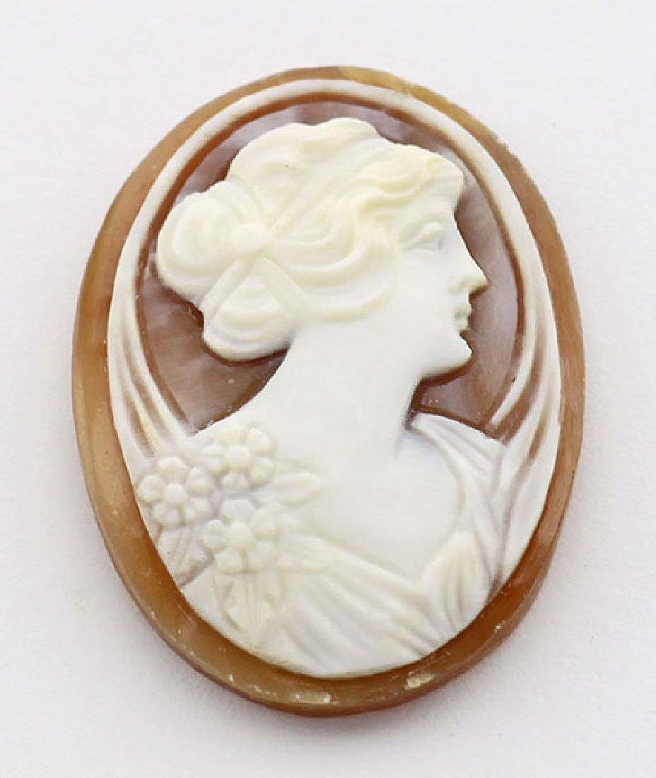 25 mm x 18 mm Oval Hand Carved Italian Shell Cameo - Lo