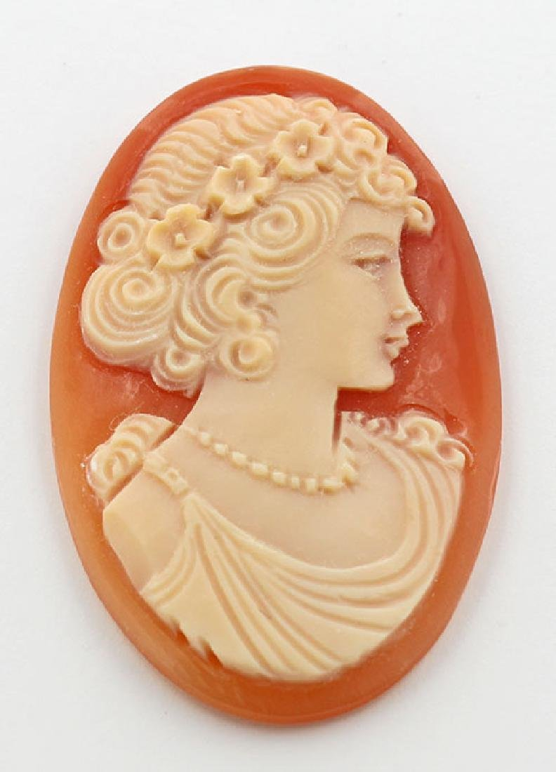 38 mm x 24 mm Oval Hand Carved Italian Shell Cameo - Lo