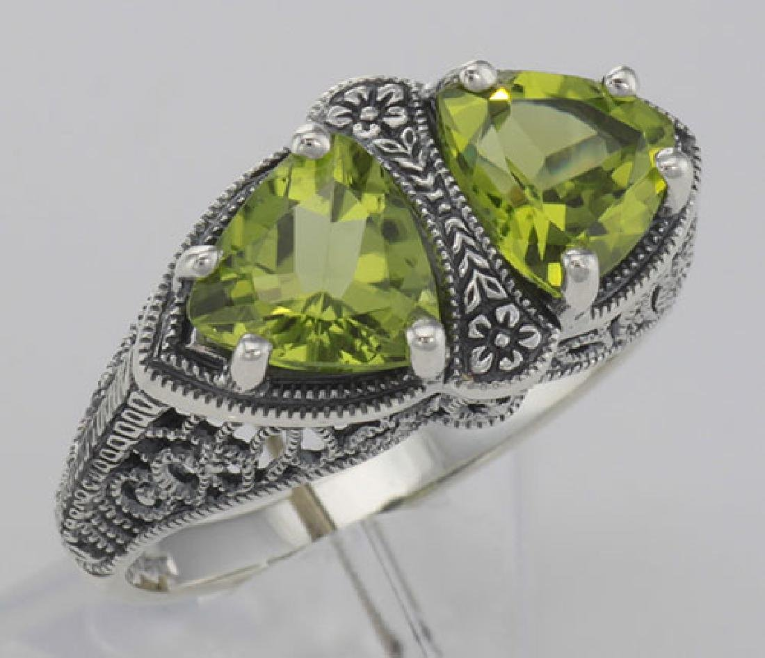 Unique Art Deco Style Peridot Filigree Ring - Sterling