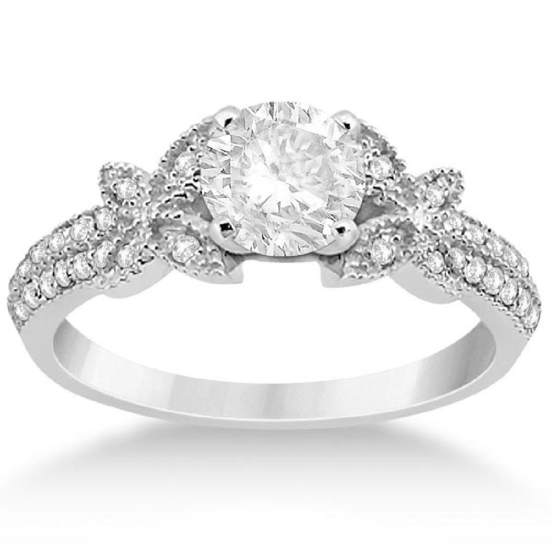 Butterfly Milgrain Diamond Engagement Ring 14K White Go