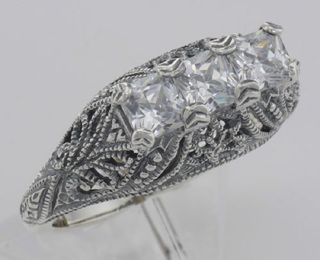 Art Deco Style Sterling Silver Filigree Ring with 3 Pri