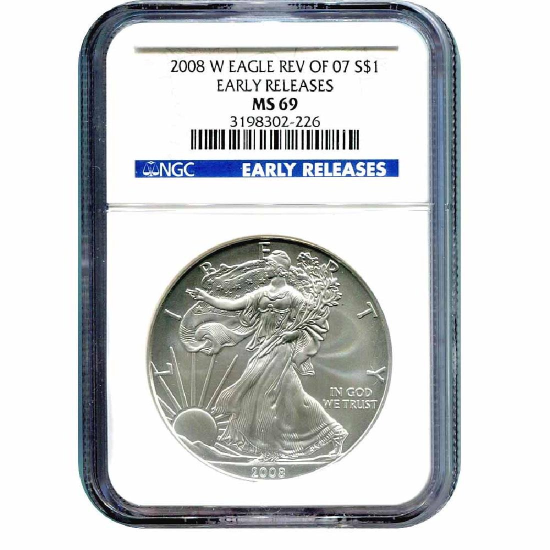 Burnished 2008-W Silver Eagle MS69 NGC Reverse Of 07 Ea