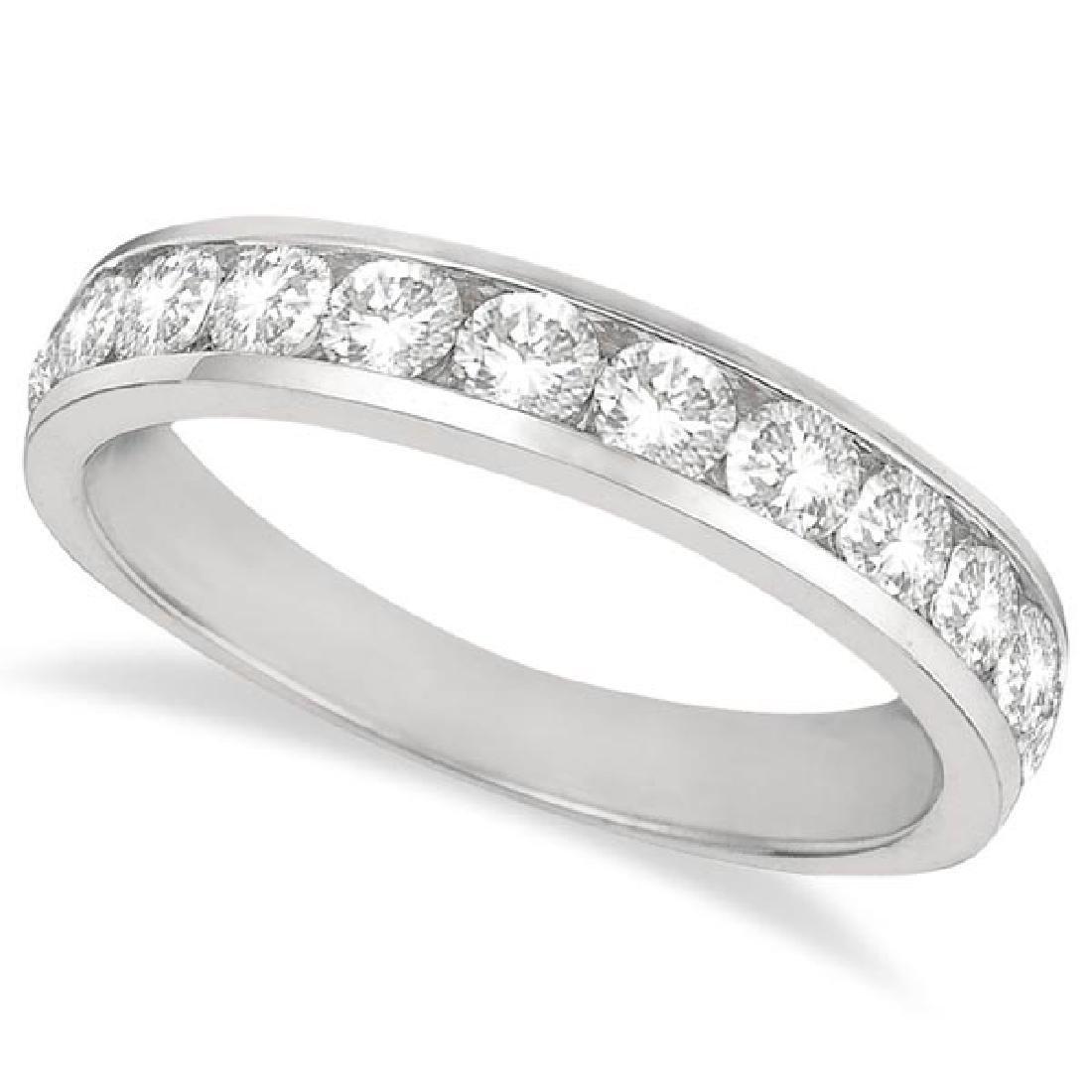 Channel-Set Diamond Anniversary Ring Band 14k White Gol
