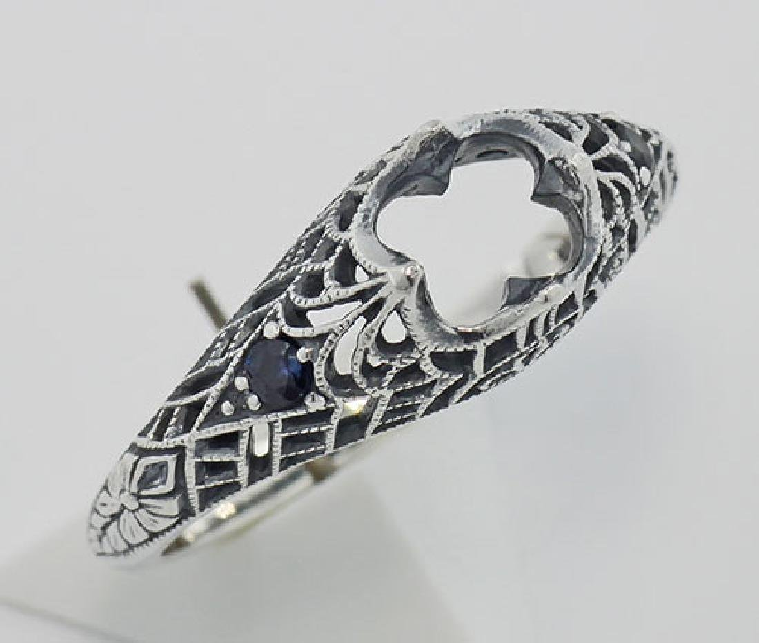 Semi Mount Filigree Ring with Sapphire Gems - Sterling