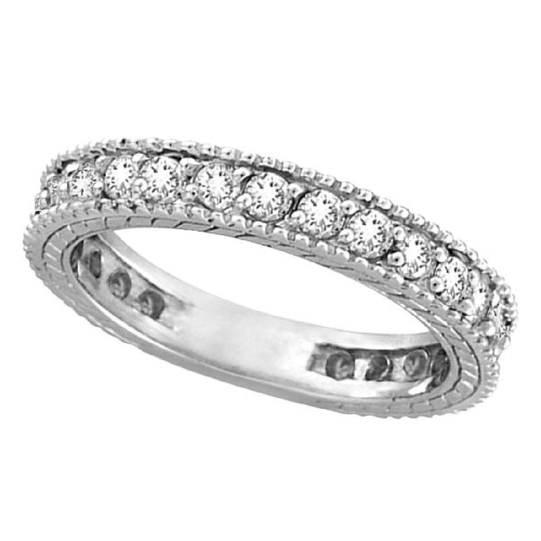 Diamond Eternity Milgrain Edged Ring Band 14k White Gol