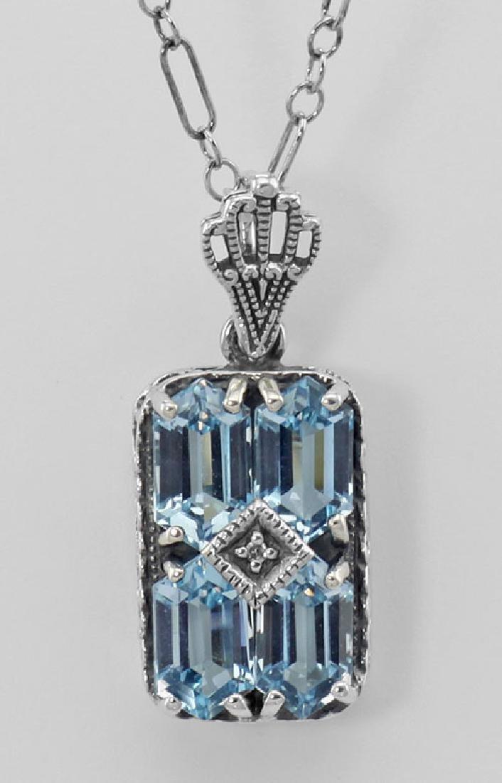 Art Deco Blue Topaz Filigree Diamond Pendant 18 in. Cha