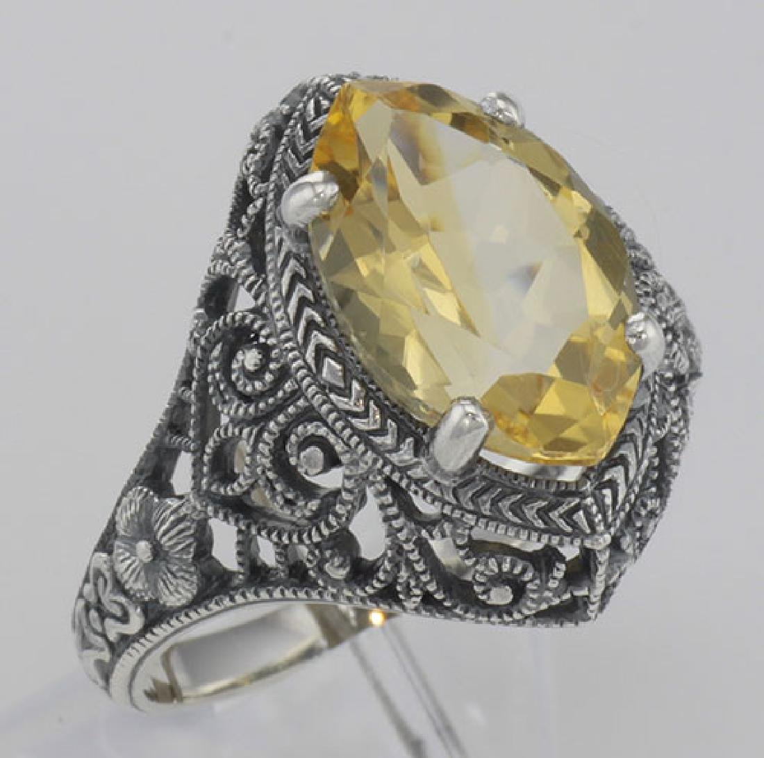 Beautiful 3 Carat Victorian Style Genuine Citrine Filig