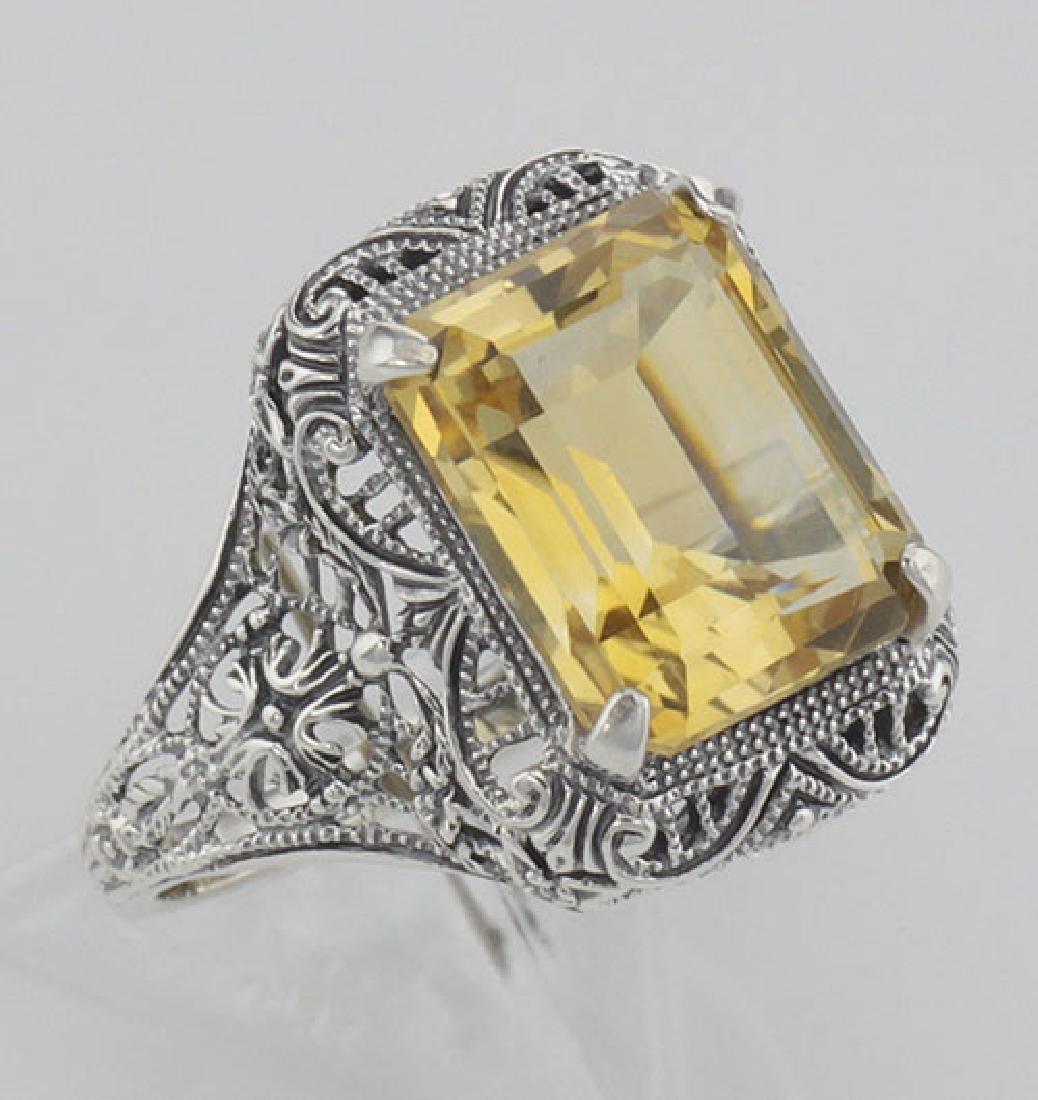 Art Deco Style Genuine Golden Citrine Filigree Ring - S