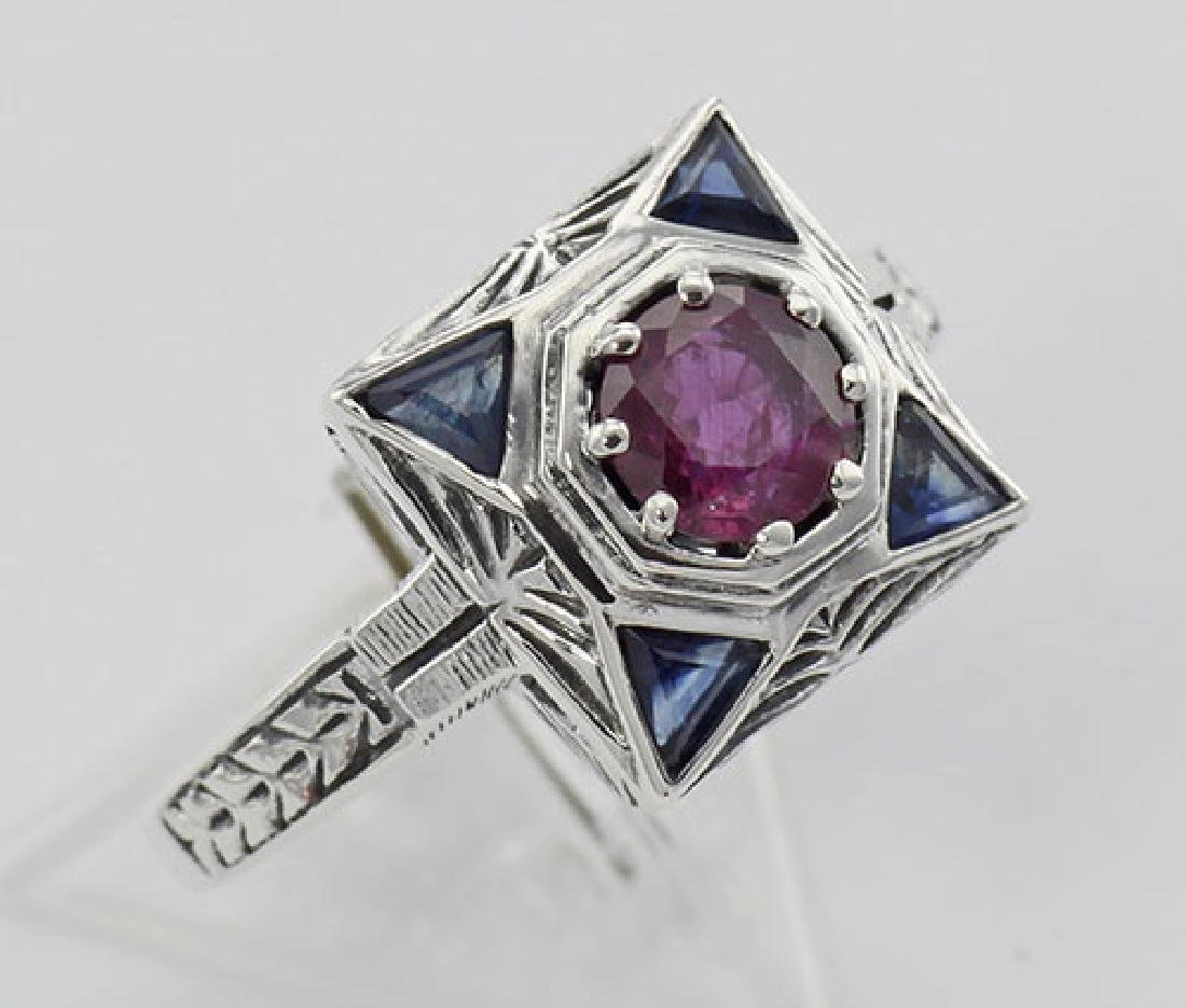 Art Deco Ruby Filigree Ring w/ Sapphire - Sterling Silv
