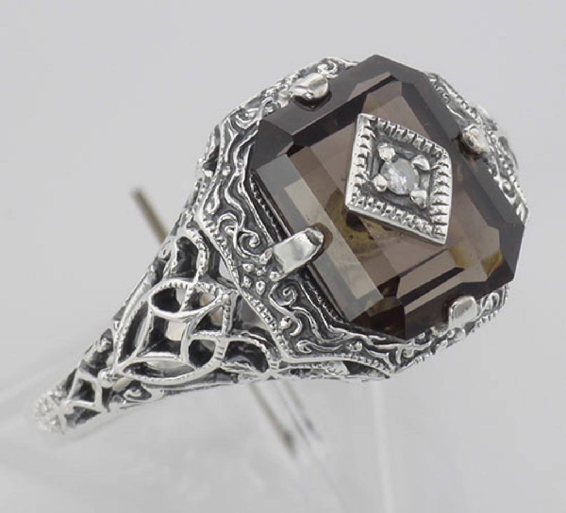 Antique Victorian Style Smokey Topaz Filigree Diamond R